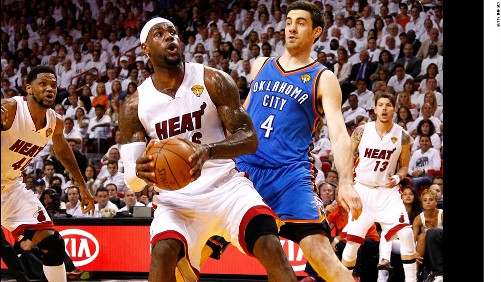 LeBron James gets ready to take a shot against the Thunder's Nick Collison.