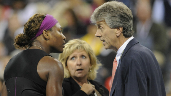 """During her 2009 U.S. Open semifinal against Kim Clijsters, Serena Williams unleashed a verbal assault on an official which result in a hefty fine and a two-year suspended ban. Williams repeated the episode in last year's New York final, calling the umpire """"ugly on the inside"""" during her defeat to Samantha Stosur."""