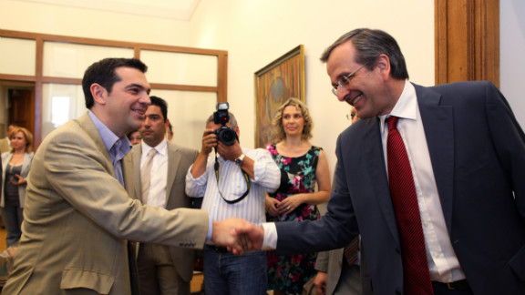 Antonis Samaras, right, meets with Greece