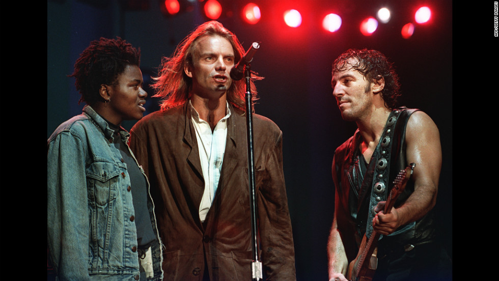 Tracy Chapman, Sting and Springsteen appear at an Amnesty International benefit concert in 1988 in Philadelphia.