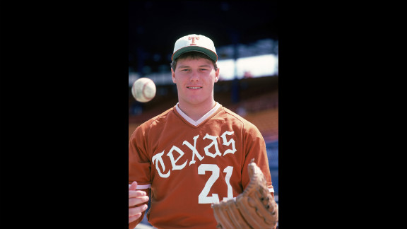 Clemens poses for his University of Texas season portrait in 1982.  He played for them from 1982 until 1983.