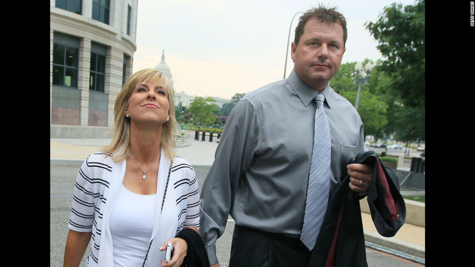 Clemens and his wife, Debbie Clemens, arrive at the U.S. District Court on July 6, 2010, in Washington, where he was on trial for perjury charges.