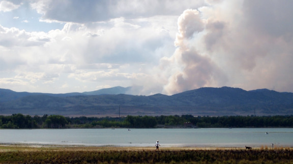 A view of the High Park and its large plume of smoke from Fort Collins on Wednesday, June 13.