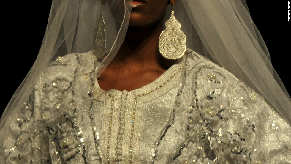 An intricate wedding dress by Moroccan designer Meireym Boussiko.
