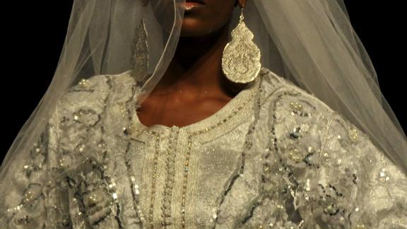 An intricate wedding dress by Moroccan designer Meireym Boussiko.