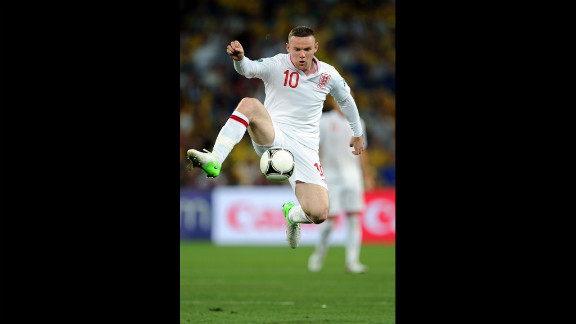 Wayne Rooney of England controls the ball during the match between England and Ukraine.