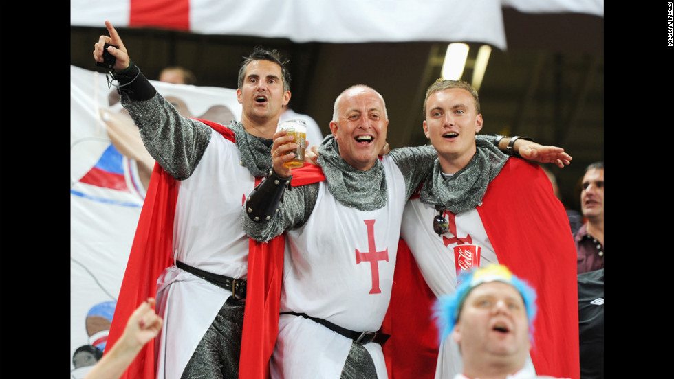 England fans soak up the atmosphere during the match between England and Ukraine.
