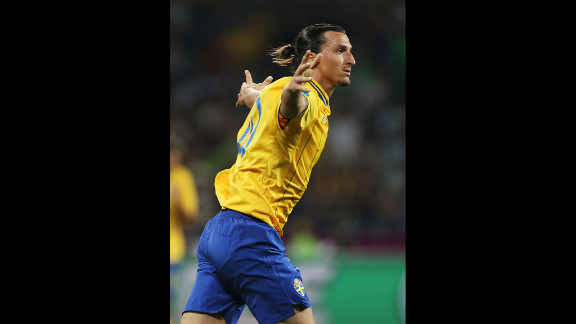 Zlatan Ibrahimovic of Sweden celebrates his goal during the group D match against France.