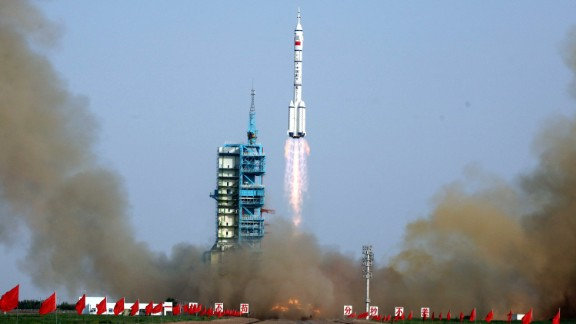 The Shenzhou-9 -- China's fourth manned space mission -- blasts off from the Jiuquan space base in the remote Gobi desert in June 2012.