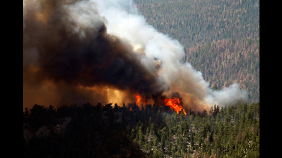 The High Park Fire rages through the forest west of Fort Collins, Colorado, on June 19.
