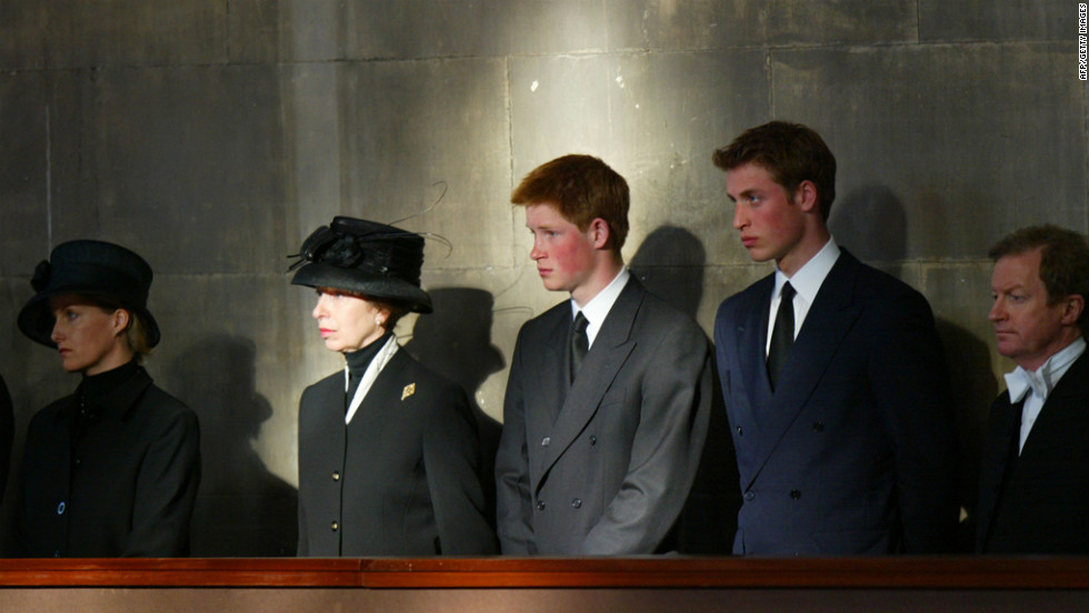 The royal family stand vigil besides the Queen Mother's coffin at Westminster Hall on April 8, 2002. Prince William, right, stands alongside Prince Harry, Princess Anne and Sophie of Wessex.