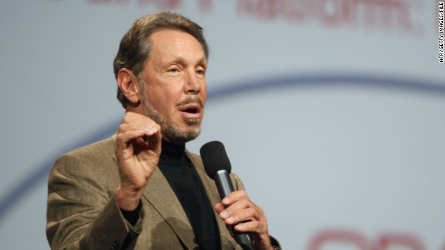 Larry Ellison introduces Oracle's cloud computing during the Oracle OpenWorld 2011 at the Moscone Center in San Francisco, October 5, 2011.