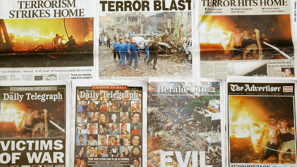"After the Bali bombings, front page headlines in Australian newspapers described the attacks as ""evil"" and those who died and were injured as ""victims of war."""