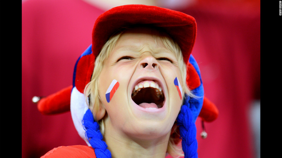 A Czech Republic fan celebrates during a quarter-final match between the Czech Republic and Portugal on Thursday in Warsaw, Poland.