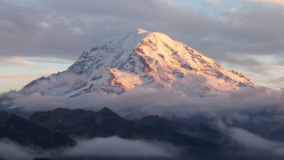 Mount Rainier is about 85 miles southeast of Seattle.