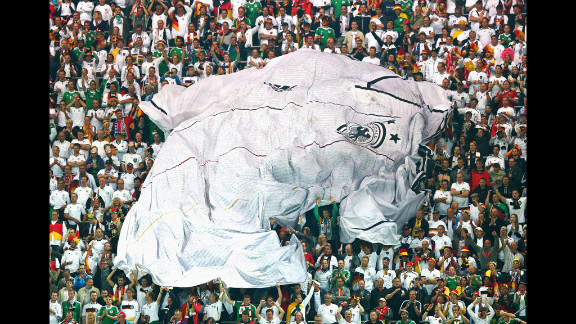 A giant German football shirt is seen in the crowd during the quarterfinal match between Germany and Greece at The Municipal Stadium on Friday, June 22, in Gdansk, Poland.