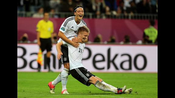 Marco Reus of Germany celebrates scoring the team