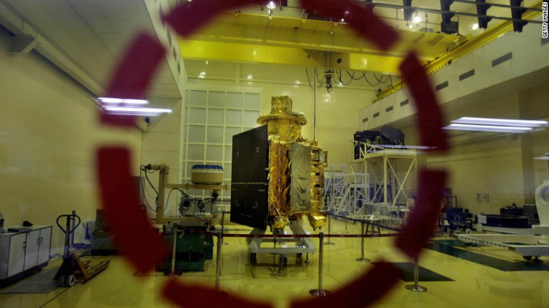 India's first unmanned lunar probe, Chandrayaan-1, is shown here in September 2008. It was launched in October of the same year and radio contact with it lost in 2009.