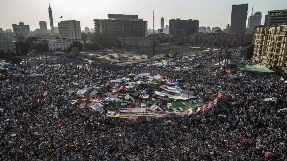 Crowds gather in Tahrir Square to protest against Egypt