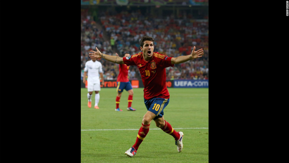 Cesc Fabregas of Spain reacts during the quarterfinal match between Spain and France.