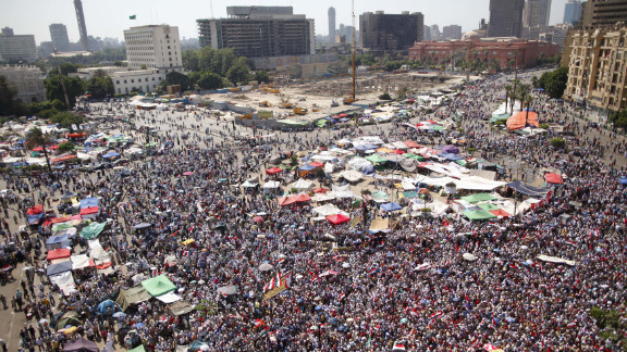 Egyptians fill Tahrir Square on Sunday, June 24, as they wait for the elections commission to announce the winner of the country