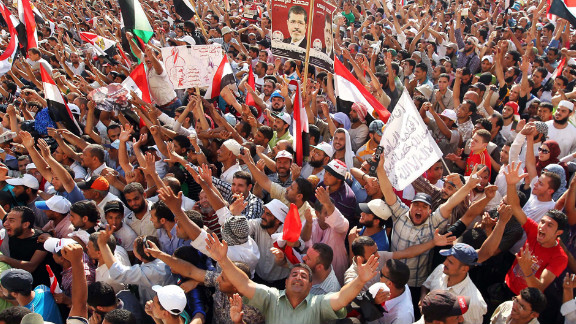 Muslim Brotherhood supporters cheer in Cairo