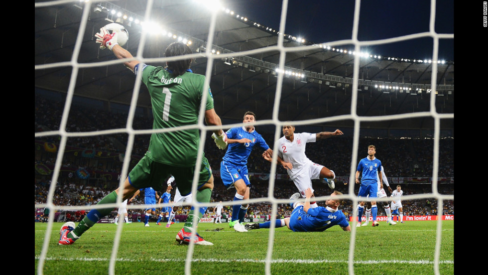 Italy's Gianluigi Buffon makes a save during Sunday's quarterfinal match against England.