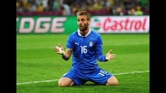 Daniele De Rossi of Italy reacts after a missed goal during the quarterfinal match.