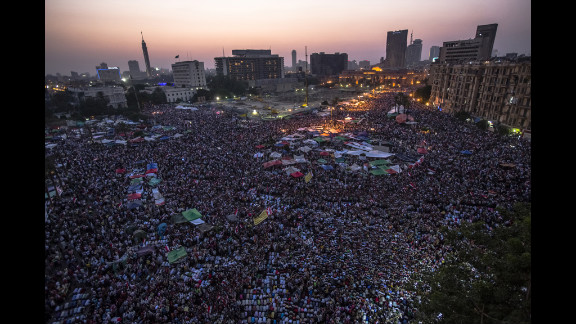 Thousands of Egyptians gather in Tahrir Square after Mohamed Morsi is declared the nation