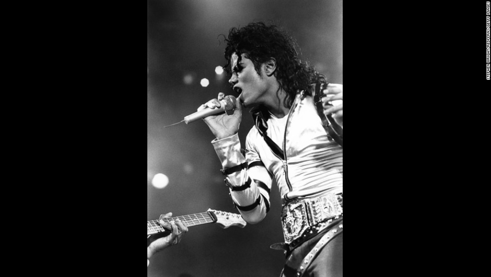 Jackson performs during the Bad tour at Wembley Stadium in London.