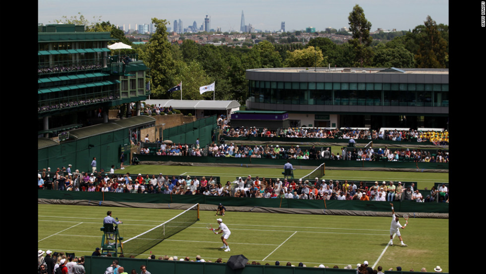 A view of court 15 during men's doubles play on day two of Wimbledon on June 26.