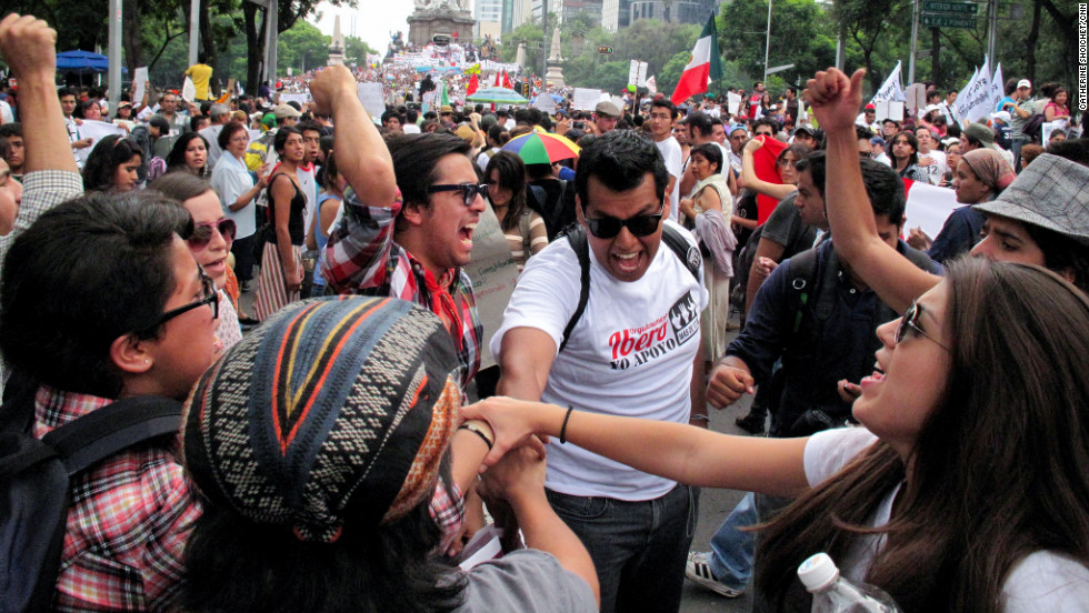 Students from the Iberoamerican University chant a school cheer during a protest last weekend in Mexico City. A video they uploaded to YouTube helped launch a nationwide youth protest movement. The demonstrators have added fuel to the political frenzy leading up to Mexico's elections on Sunday, July 1.