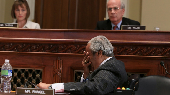Rangel reacts after being censured by the House Ethics Committee for ethics violations. The committee ruled he failed to pay income taxes for a rental unit in the Dominican Republic, filed misleading financial disclosure reports and set up his campaign office in a building where he lives, a violation of campaign rules.