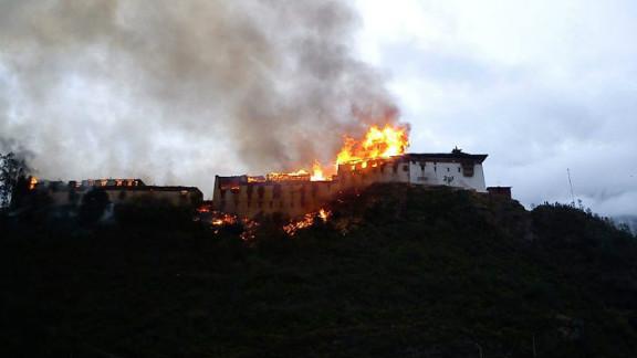 The fire consumed Wangdue Phodrang Dzong Sunday afternoon.
