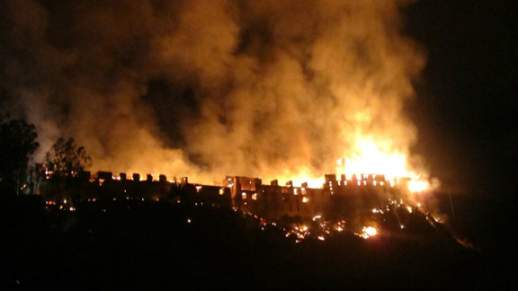 The fire burned through the night at the Wangdue Phodrang Dzong, which was built by Bhutan
