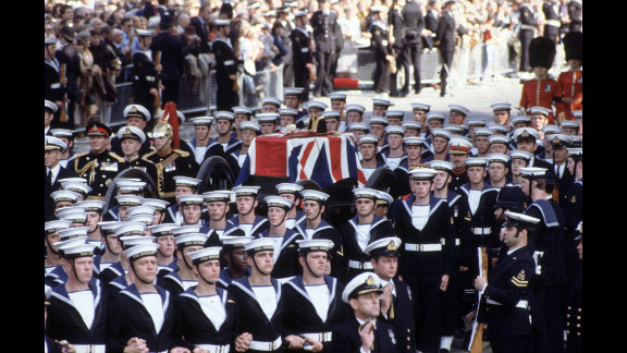 The funeral procession of Lord Louis Mountbatten, an uncle of the queen