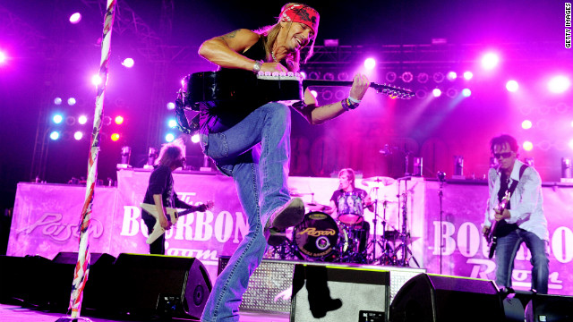 Bret Michaels performs with musicians C.C. DeVille, Rikki Rockett and Bobby Dall in June 2012.