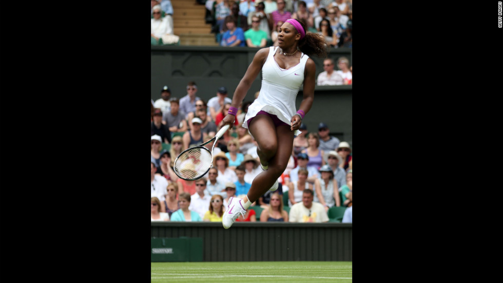 Serena Williams of the United States reacts during a match June 28 against Melinda Czink of Hungary.