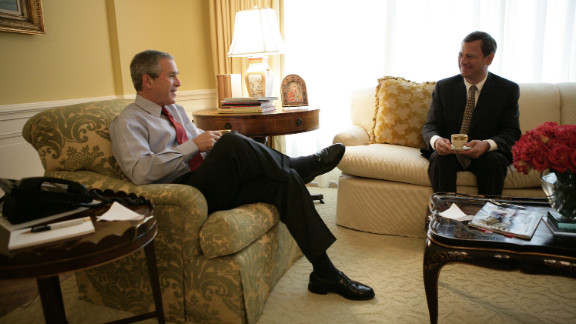 President George W. Bush meets with Roberts for morning coffee at the White House on July 20, 2005, a day after Bush first nominated Roberts for the Supreme Court to replace outgoing Justice Sandra Day O