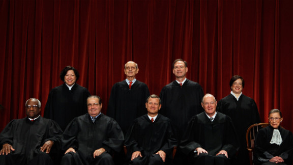 The Supreme Court justices pose for a portrait on October 8, 2010. At the top, from left, are Associate Justice Sonia Sotomayor, Associate Justice Stephen Breyer, Associate Justice Samuel Alito and Associate Justice Elena Kagan. From left on the bottom row are Associate Justice Clarence Thomas, Associate Justice Antonin Scalia, Chief Justice John Roberts, Associate Justice Anthony Kennedy and Associate Justice Ruth Ginsburg.