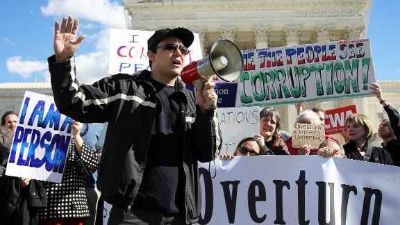 Citizens United v. Federal Election Commission (2010): Activists rally in February 2012 to urge the Supreme Court to overturn its decision that fundamentally changed campaign finance law by allowing corporations and unions to contribute unlimited funds to political action committees not affiliated with a candidate.