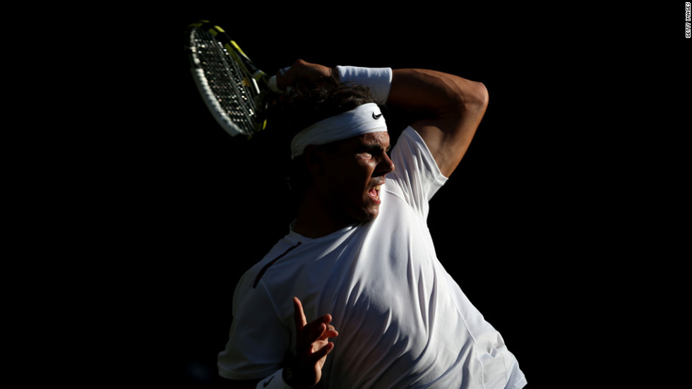 Rafael Nadal of Spain during his men's singles second-round match against Lukas Rosolon of the Czech Republic on day four of the Wimbledon championships June 28.