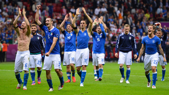 The Italian team celebates their victory over Germany at the end of the Euro 2012 football championships semifinal match on Thursday, June 28, at the National Stadium in Warsaw, Poland.