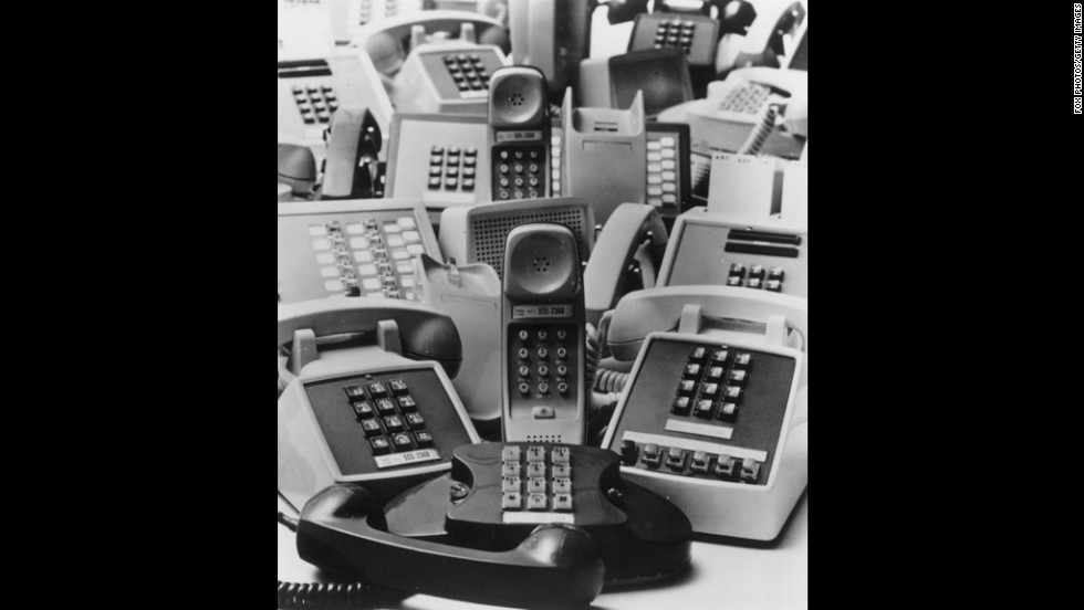 Some of the first push-button phones are pictured here in 1971.