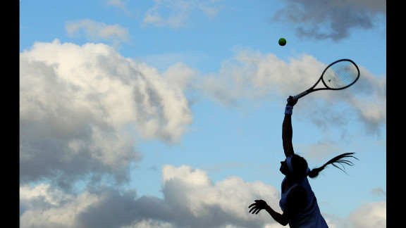Maria Kirilenko of Russia serves the ball during her third-round match against Sorana Cirstea of Romania on Friday.