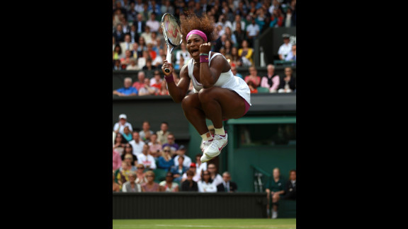 Williams, who hit a Wimbledon record 23 aces, celebrates match point and victory over Zheng on Saturday.
