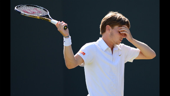 David Goffin of Belgium reacts Saturday to losing a point during his third round men