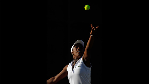Sachia Vickery of the United States serves during her tirst-round girls