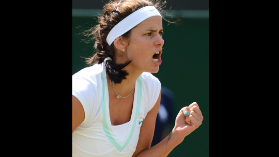 Julia Goerges of Germany celebrates a point Saturday during the third round women