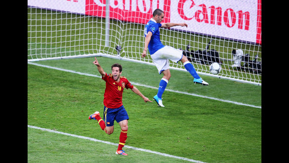 Jordi Alba of Spain celebrates after scoring his team